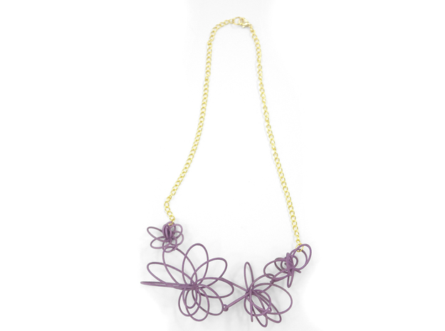Flora Necklace 3d printed Wisteria (Custom Dyed Color)