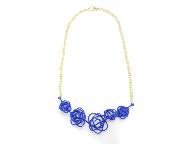 Sprouted Spiral Necklace in Blue Processed Versatile Plastic
