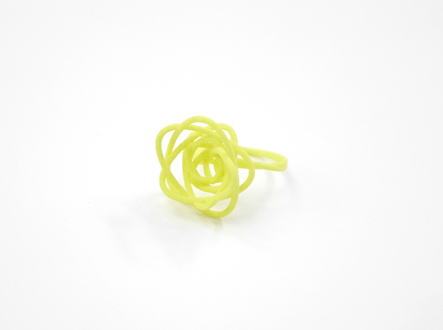 Sprouted Spiral Ring (Size 8) 3d printed Key Lime (Custom Dyed Color)