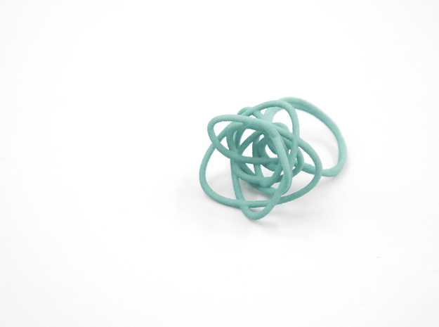 Sprouted Spiral Ring (Size 8) 3d printed Teal (Custom Dyed Color)