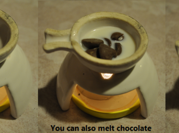 Tea Light Cooker (1 base + 1 cooker) 3d printed Melting milk chocolate (old handles)