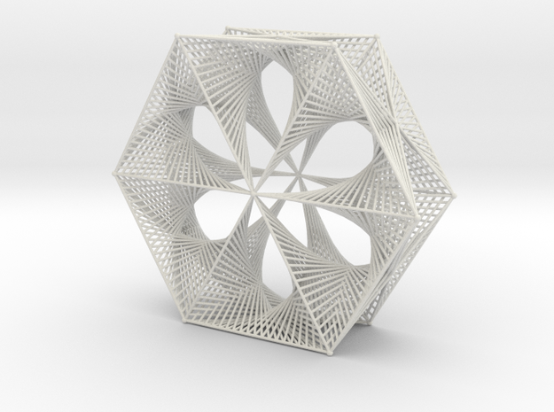 Wired Six Petals Straight Line Curves Doubly Mesh  in White Natural Versatile Plastic