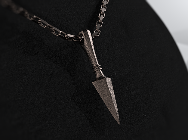 Gungnir, the Spear of Odin Pendant in Polished Bronzed Silver Steel