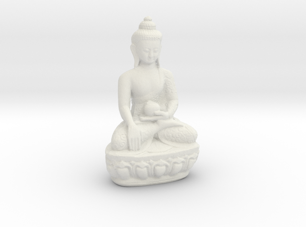 Sitting Buddha with a medicine pot. in White Strong & Flexible