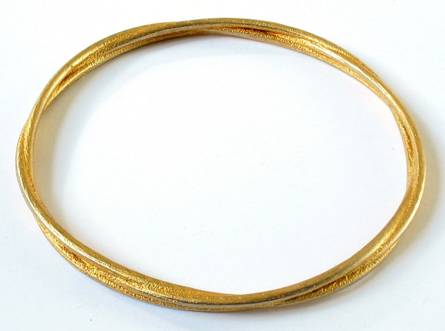 Three loops bangle in Polished Gold Steel