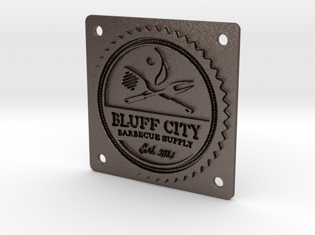 "Bluff City 2"" Badge in Polished Bronzed Silver Steel"