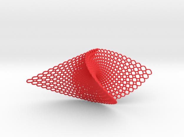 Pendant (Enneper) in Red Processed Versatile Plastic