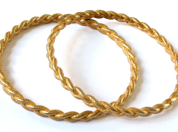 Braid bangle in Polished Gold Steel
