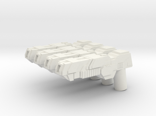 Custom futuristic shotguns x4 for Lego minifigs in White Natural Versatile Plastic
