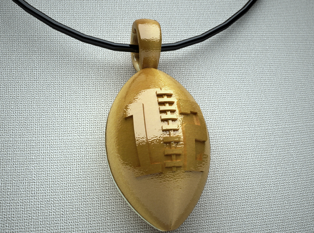 Pendant Football #12 in Polished Gold Steel