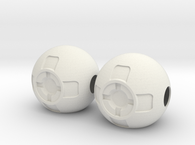 Thruster Ball Pair Disassembled in White Natural Versatile Plastic