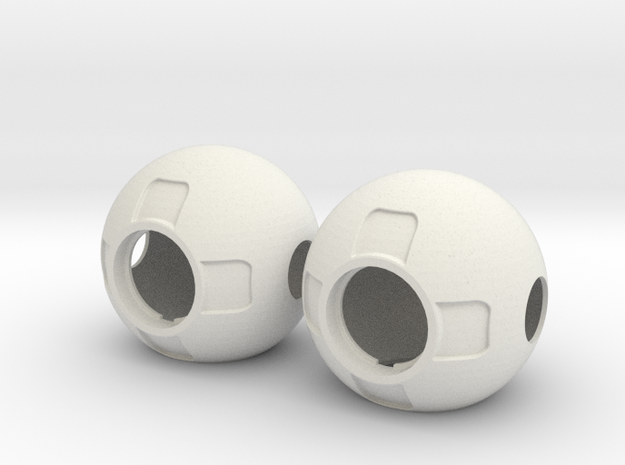 Thruster Ball Insertable Pair Disassembled in White Natural Versatile Plastic