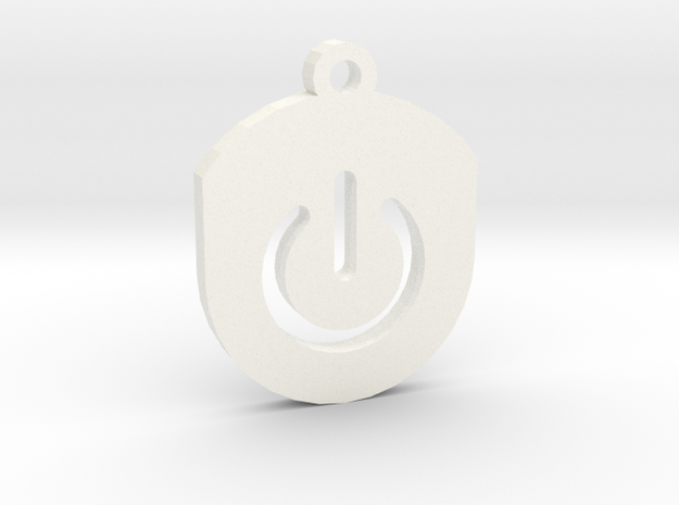 On Button Circular Frame Pendant Insert in White Processed Versatile Plastic
