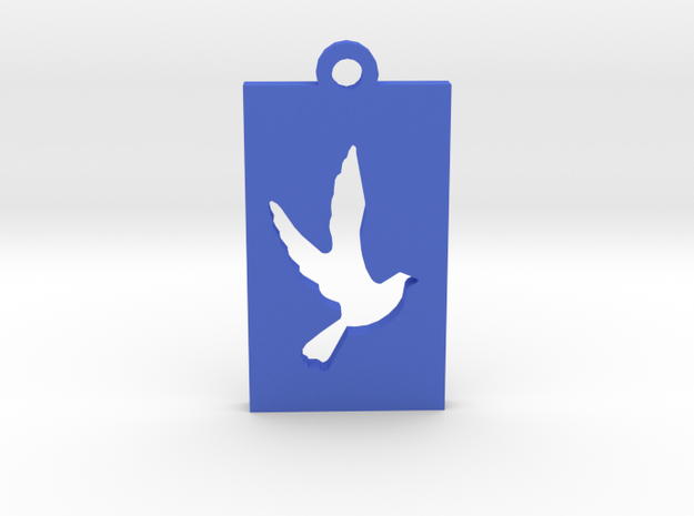 Rectangular Frame Pendant Dove Insert in Blue Processed Versatile Plastic