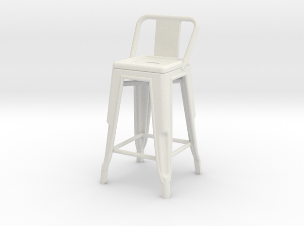 1:24 Pauchard Stool, Low Back in White Natural Versatile Plastic
