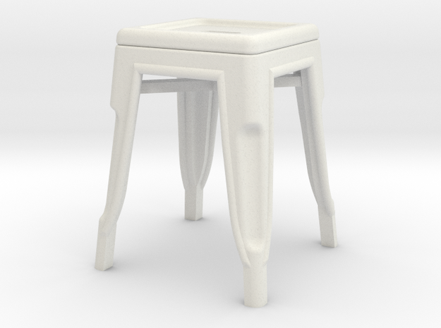 1:24 Low Pauchard Stool in White Natural Versatile Plastic