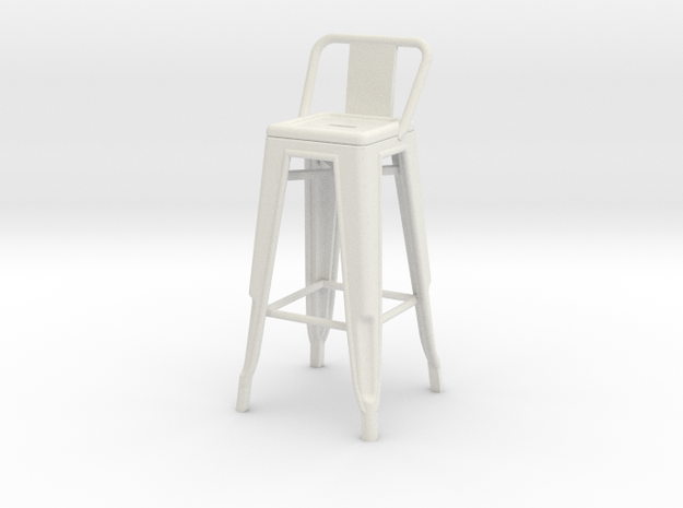 1:24 Tall Pauchard Stool, with Low Back in White Natural Versatile Plastic