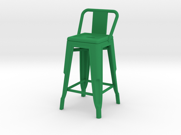 1:12 Pauchard Stool, with Short Back in Green Strong & Flexible Polished