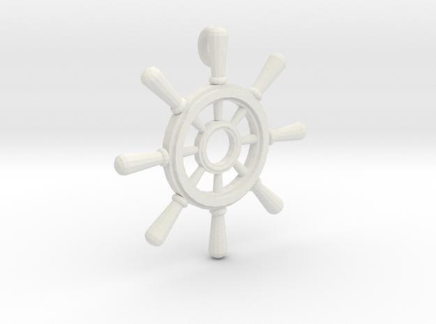 Ships Wheel Pendant in White Natural Versatile Plastic