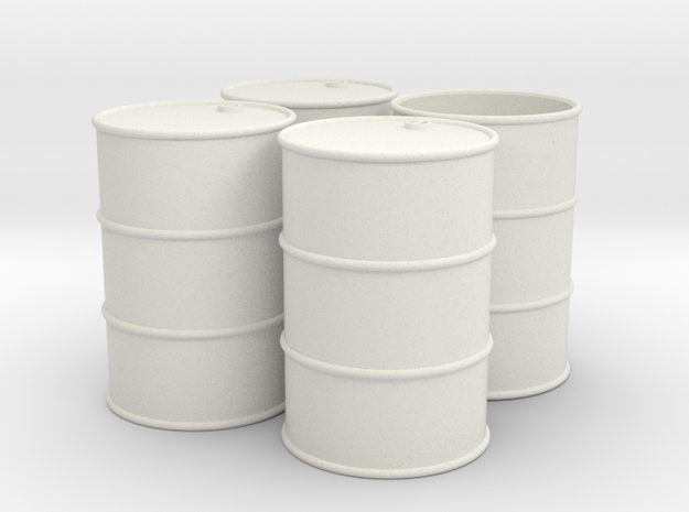 G Scale 44 Gallon Drums (open one end) x4 in White Natural Versatile Plastic