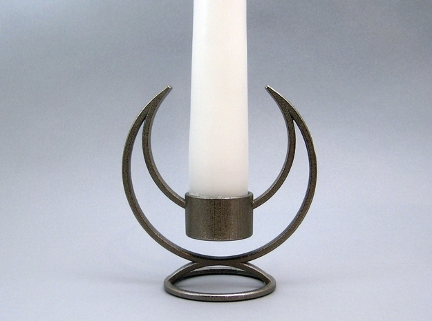 Candle Holder - 3D printed Candleholder in Polished Bronzed Silver Steel