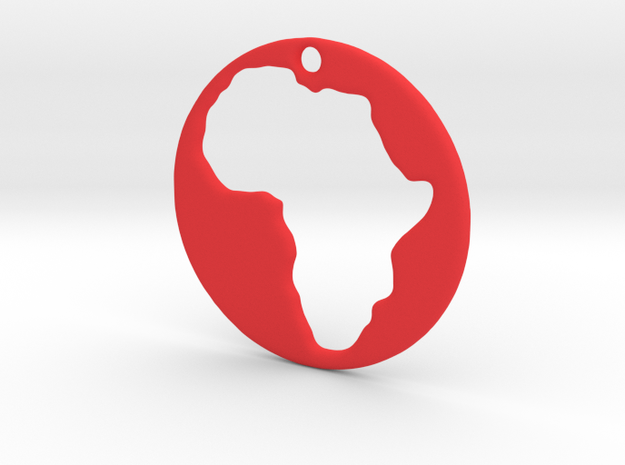 Pendant of Africa (5cms) in Red Processed Versatile Plastic