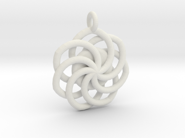 Circular Wrapped Pendant in White Natural Versatile Plastic
