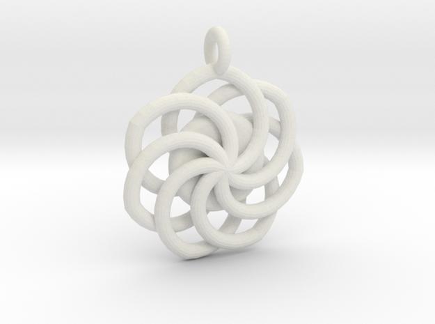 Circular Wrapped Pendant in White Natural Versatile Plastic