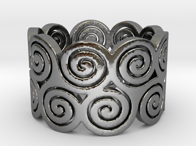 Triskelion Ring Ring Size 7 in Fine Detail Polished Silver