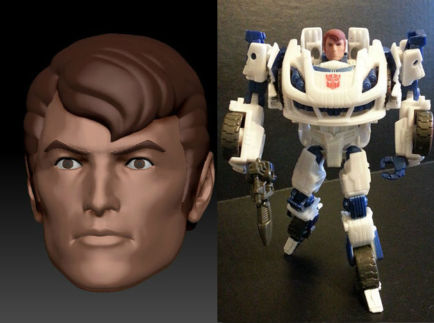 SPIKE Homage Exosuit Head For TF FOC JAZZ in Full Color Sandstone