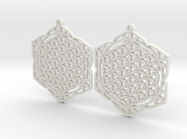 43x2mm Lotus of Life Ear Rings - Sacred Geometry in White Natural Versatile Plastic