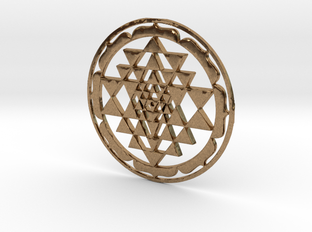 Sri Yantra Lotus Circle 42x2mm Super-accurate in Natural Brass