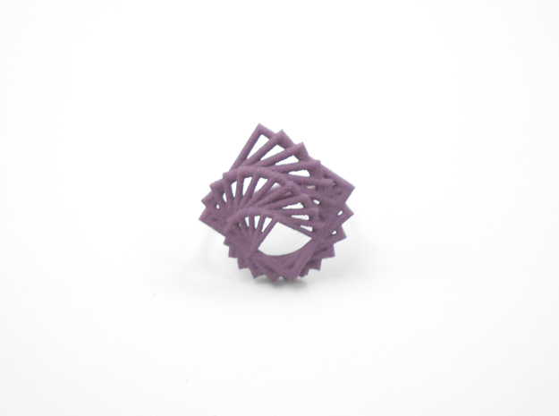 Arithmetic Ring (US Size 8) 3d printed Wisteria Nylon (Custom Dyed Color)