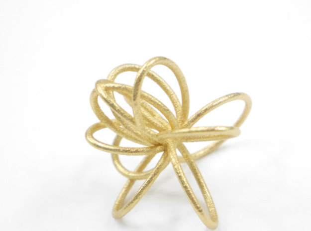 Flora Ring B (Size 9) in Polished Gold Steel