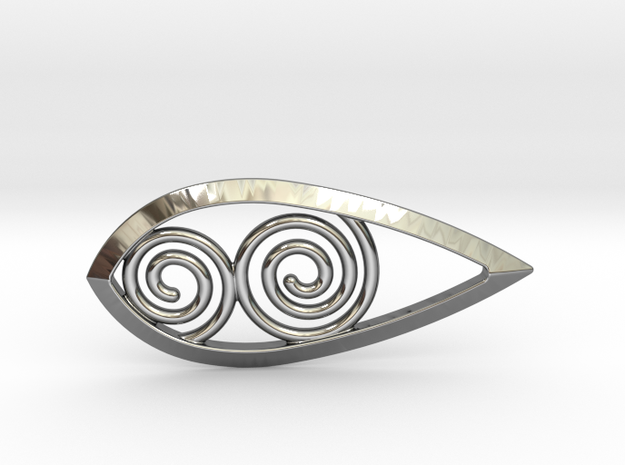 Tear Spiral Pendant in Fine Detail Polished Silver