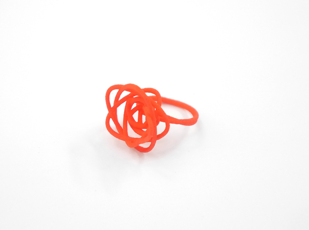 Sprouted Spiral Ring (Size 6) 3d printed Coral Nylon (Custom Dyed Color)
