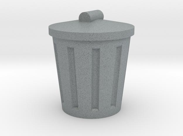 Trash Can, Miniature in Polished Metallic Plastic