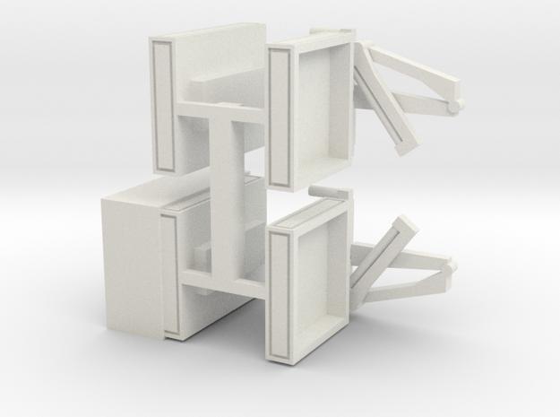 4 Pritschen für 1:220 (z scale) in White Natural Versatile Plastic