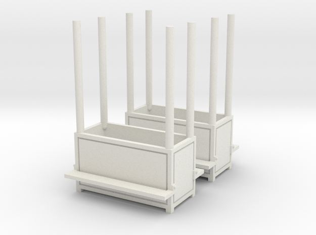 2 Carnival benches (planter) - 1:87 (H0 scale) in White Natural Versatile Plastic