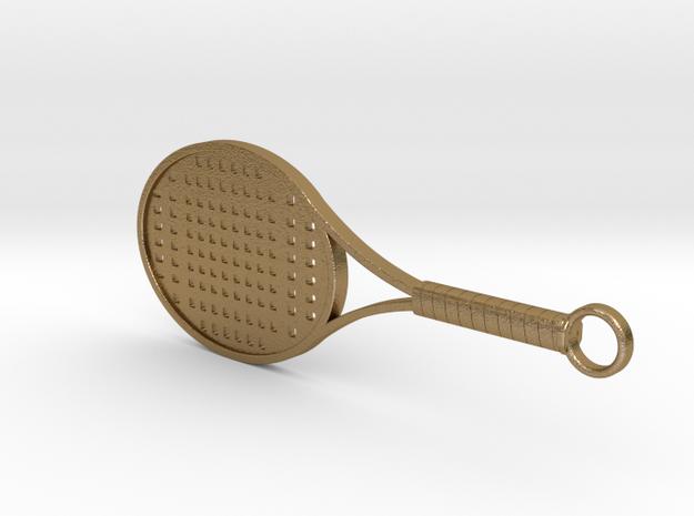 Tennis Racket Keychain in Polished Gold Steel