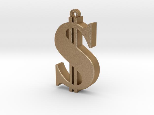 Dollar Pendant in Matte Gold Steel