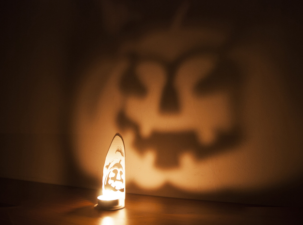 In the shadows - A Halloween Pumpkin Projection  in White Natural Versatile Plastic
