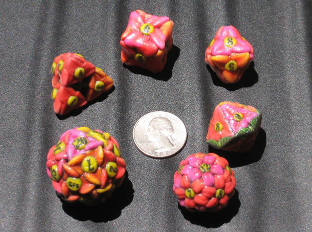 Flower Dice (Small) 3d printed After giving them all a spray on clear coat.
