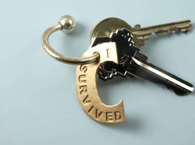 I Survived The Big C Pin / Pendant / Key Fob, Engr in Natural Bronze
