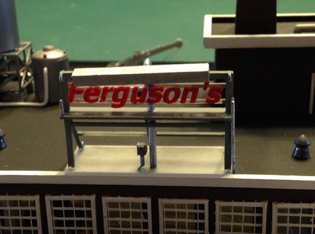 Ferguson Sign 3d printed Warehouse rooftop Sign Z scale