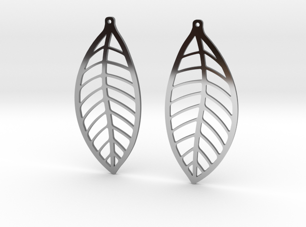LEAF Earrings in Fine Detail Polished Silver