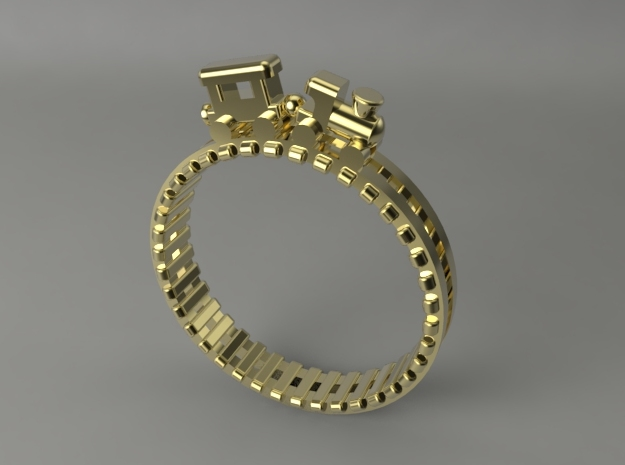 Train Nr2 Ring in Polished Brass