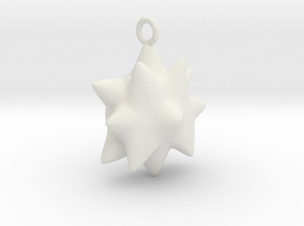 Chubby Star Pendant.  in White Natural Versatile Plastic
