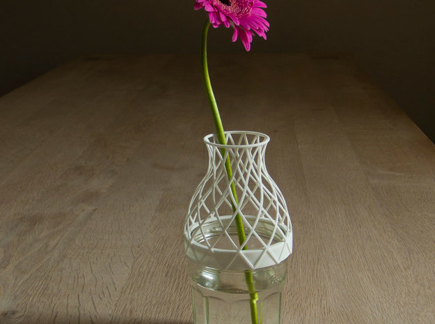 Bell Vase for jar size:82 (6 leads) 3d printed Vase in White printed