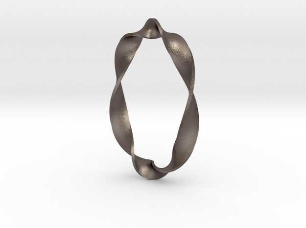 Twisted Rectangle in Polished Bronzed Silver Steel